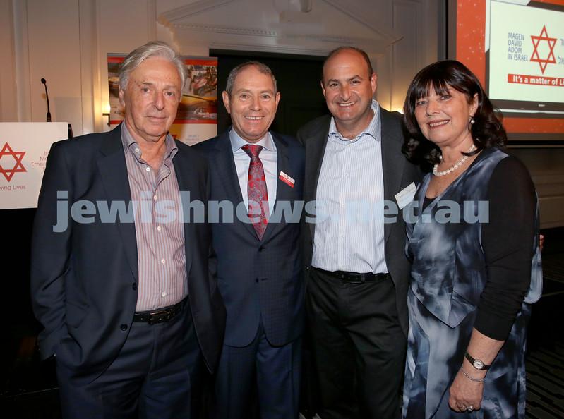 MDA Fundraiser event at the Intercon Hotel in Double Bay. (from left) Robert Magid, Roland Nagel, Mark Josman, Margaret Nagel. Pic Noel Kessel.
