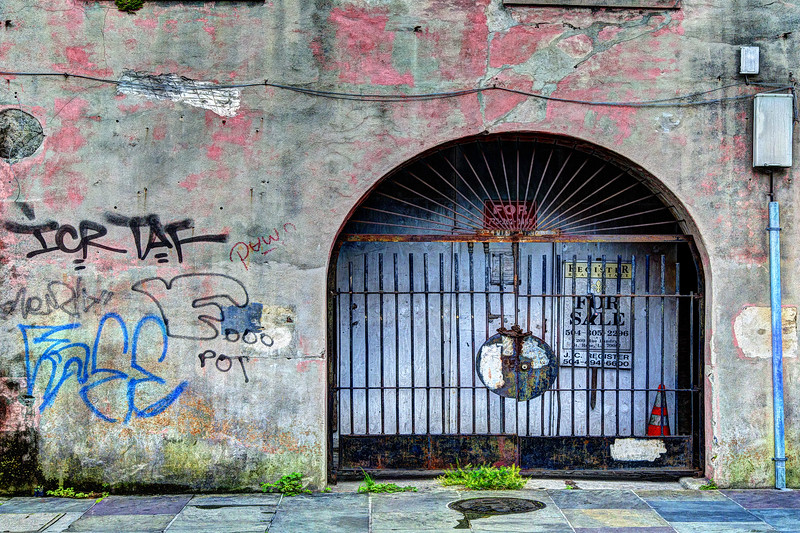 Graffiti Wall & Arched Gated Door, New Orleans