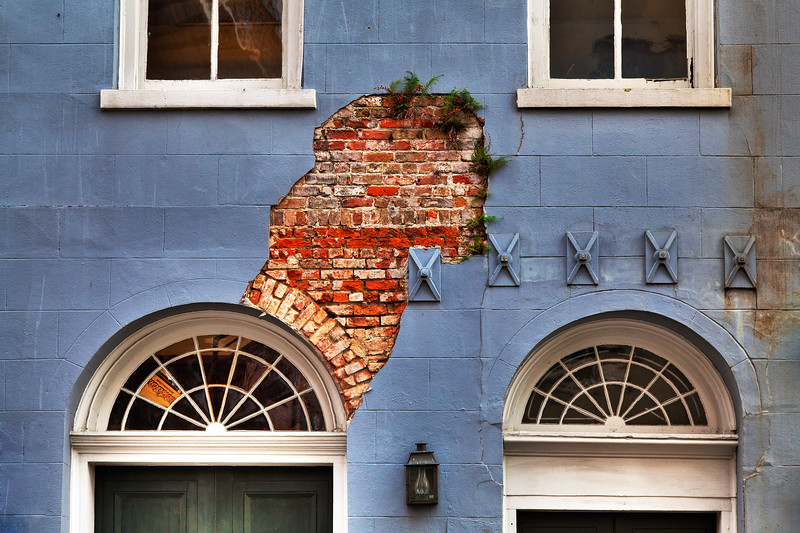 Cracked Purple Wall & Exposed Brick, New Orleans