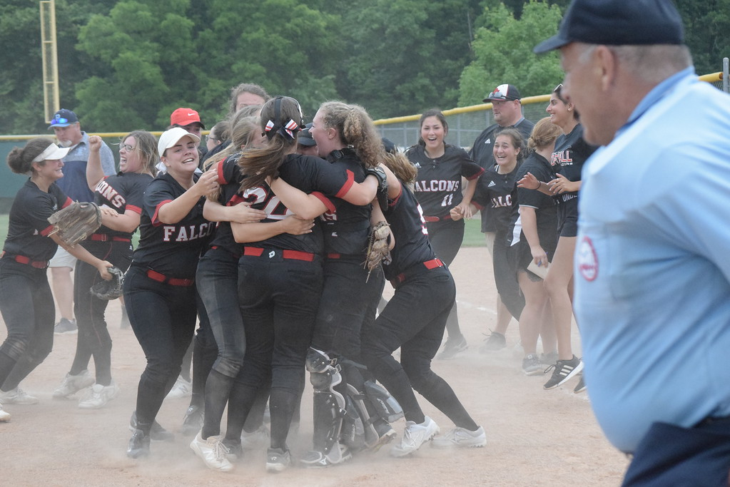 . Divine Child scored two runs in the sixth and one in the eighth and defeated Richmond 3-2 in a Division 2 quarterfinal softball game at Novi on Tuesday, June 12. DIGITAL FIRST MEDIA PHOTO GALLERY BY GEORGE POHLY