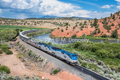 Train 5, the California Zephyr west of McCoy, CO in Eagle County along the Colorado River.