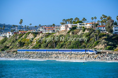 454 leads a matched Pacific Surfliner set southound through San Clemente, CA.