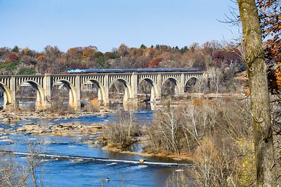 Train 89, The Palmetto, leaving Richmond, VA crossing the James River.