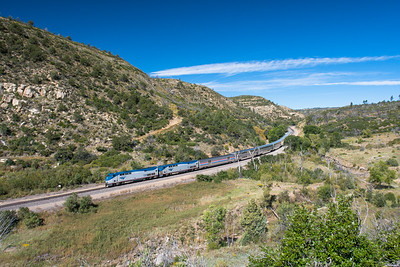 Train 3, the Southwest Chief, rolls through Colfax County north of Raton, NM.