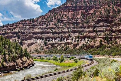 train 6, the California Zephyr along the Colorado River near Bull Gulch in Eagle County.