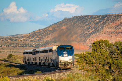 Train 3, the Southwest Chief, rolls through Pruitt, NM.