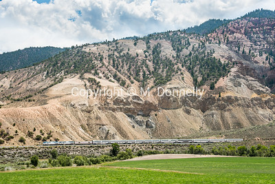 Train 6, the California Zephyr along the Colorado River near Blowout Hill in Eagle County.