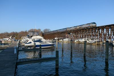Amtrak Auto Train heads over Neabsco Creek near Woodbridge, VA in late fall/early winter.