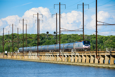 A Northeast Regional at Edgewood, MD, over the Bush River.