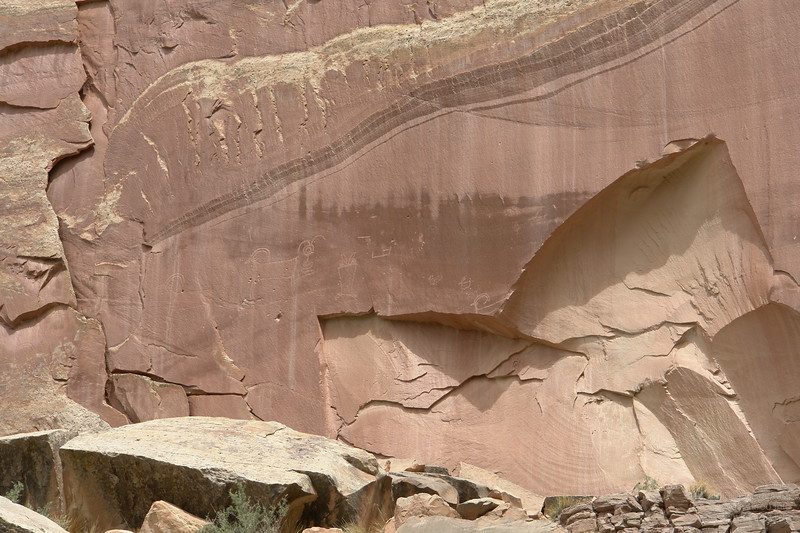Ancient petroglyphs in the Capitol Reef National Park.