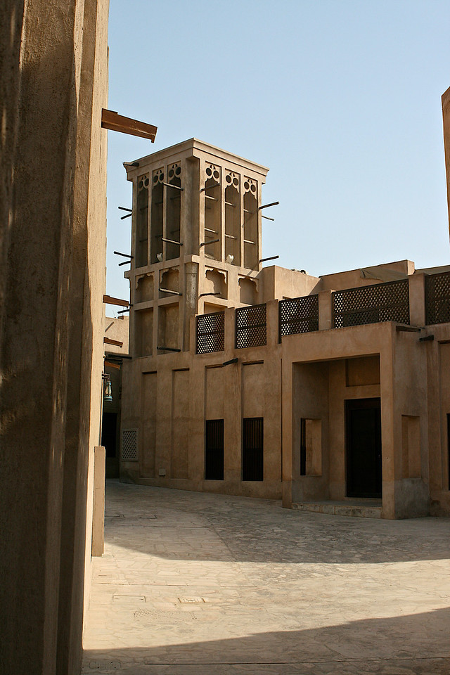 The wind tower (barjeel) seen here, provided ventilation to houses in the days before air conditioning. This is one of the few remaining wind towers in the Bastakia heritage district near Dubai Museum.