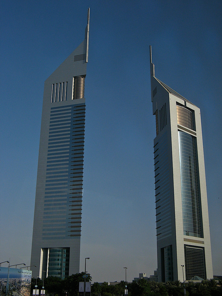 The Emirates Towers in Dubai.  The larger on the left serves as an office building.......