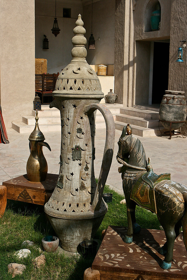 Here is a large decorative stone teapot in the Bastakia Quarter.  The Bastakia Quarter is an area of houses and streets dating back to the early 1900s.