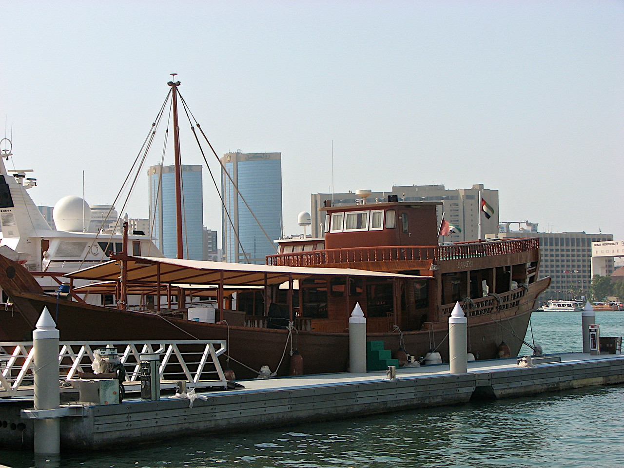Here is a traditional dhow sitting in Dubai Creek.  The Creek divides the city in two.