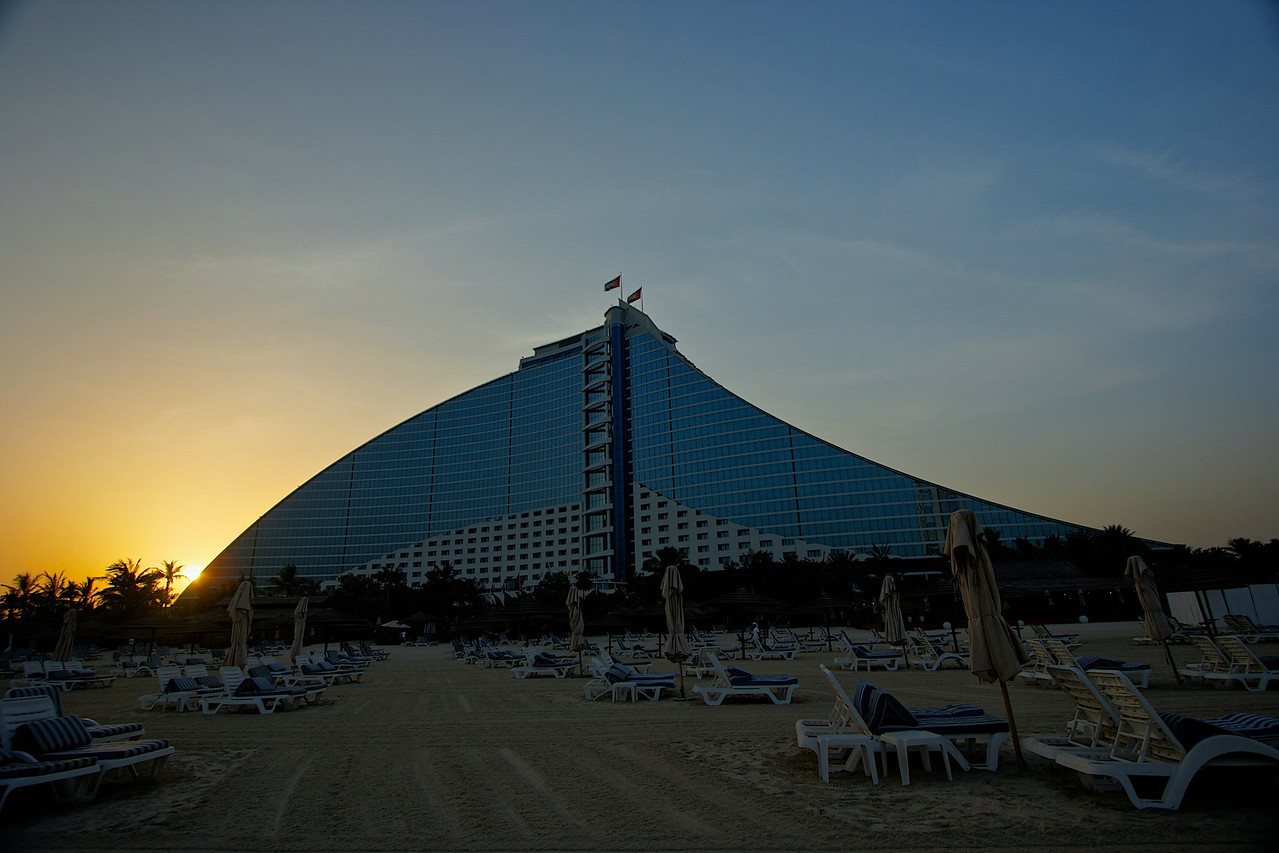 A view of the Beach Hotel at sunset.