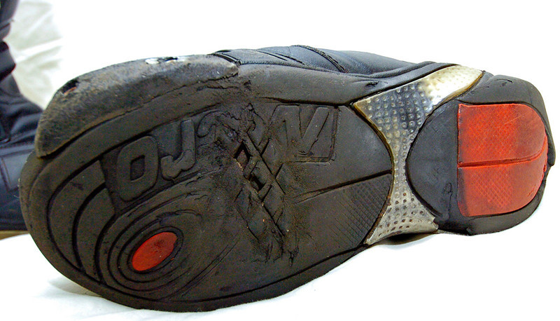 Battle worn race/street boots after one season. Lots of miles on those soles..