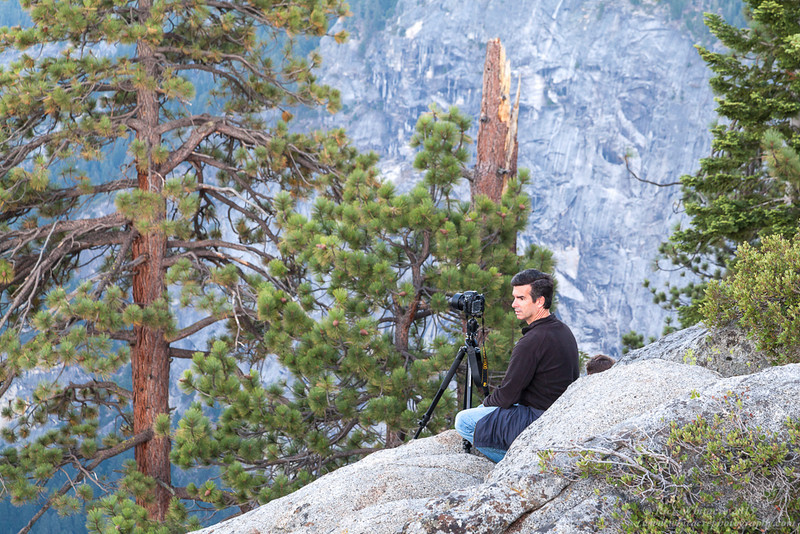 Waiting for nightfall and the Perseids Meteor Shower on the edge of Glacier Point in Yosemite.<br /> Photo by Rick Whitacre.