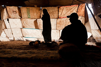 Mohamed and Handi in their tent, Wadi Rum.
