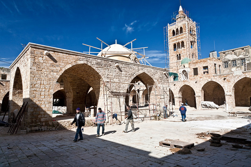 Tripoli, known as Tarablus to its inhabitants, is a famous port city which is Lebanon's second largest overall, and is predominantly Sunni Muslim. Here,Tarablus' Grand Mosque, which at the time was undergoing extensive renovation.