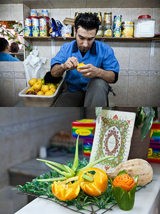 A Turkish juice stand worker creates artwork out of fruit at a shop in Damascus, Syria.