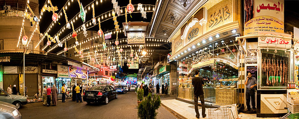The Al-Midan sweets market stays open and lit-up all night during Ramadan, as seen here.