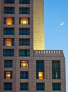 The Four Seasons hotel at dusk.