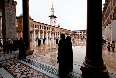 The Umayyad Mosque on a rare rainy summer day.
