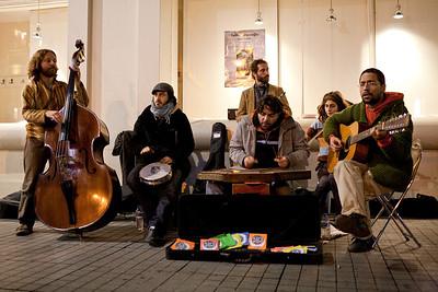 Turkish band Kara Güneş playing on Istiklal Street.