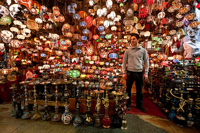 A lamp and nargileh shop in the Grand Bazaar.