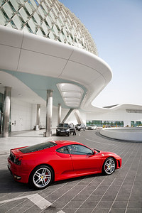 A Ferrari parked out front at the Yas Marina Hotel.