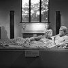 Marble sarcophagus lid with reclining couple _ bw