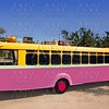 Colorful bus yellow and pink touristic tropical