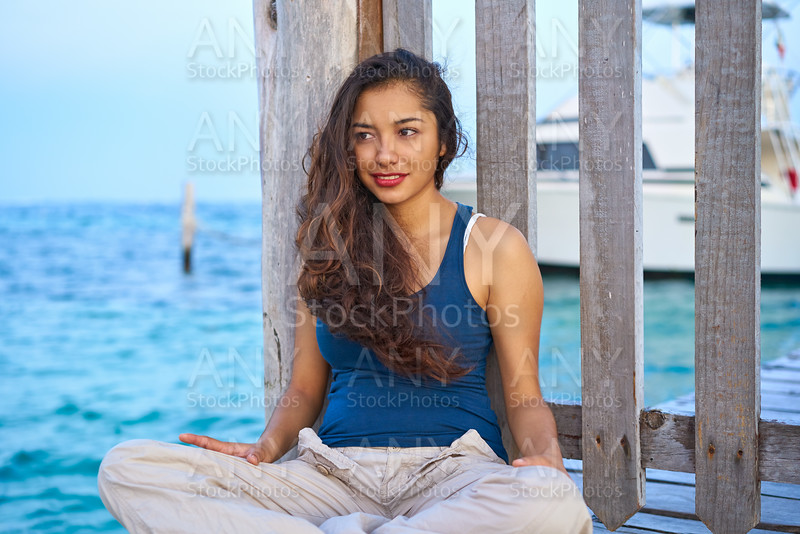 Mexican latin woman at Caribbean sea