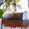 Rusted iron barrel barbecue in Mexico