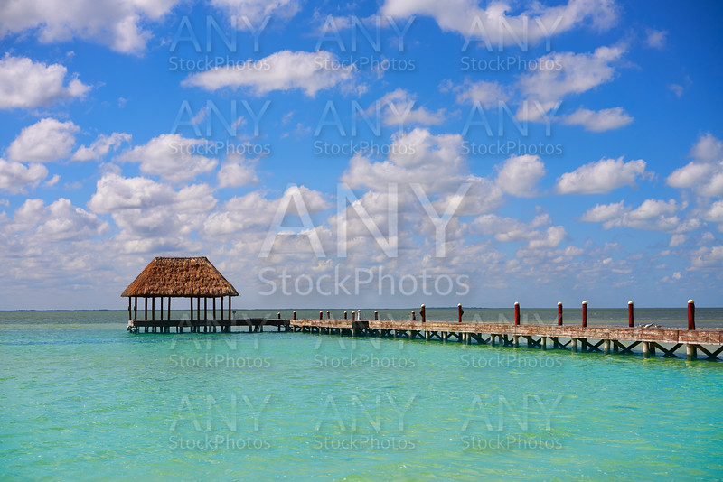 Holbox Island beach wooden pier hut Mexico