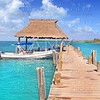 Contoy island Mexico wood pier nature reserve