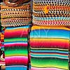 Mexican serape colorful stacked and charro hats