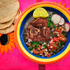Mexican beef with frijoles and tortillas