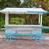 Icecream hot dogs cart white blue in Caribbean island
