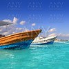 Puerto Morelos beach boats turquoise caribbean
