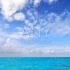 Caribbean sea horizon blue sky clouds Mexico