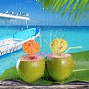 coconuts straw cocktails in tropical caribbean beach