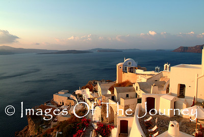 Santorini Sunset from Ios. The open water is actually the caldera of the volcano that exploded several thousand years ago destroying the Minoan civilization on Crete.