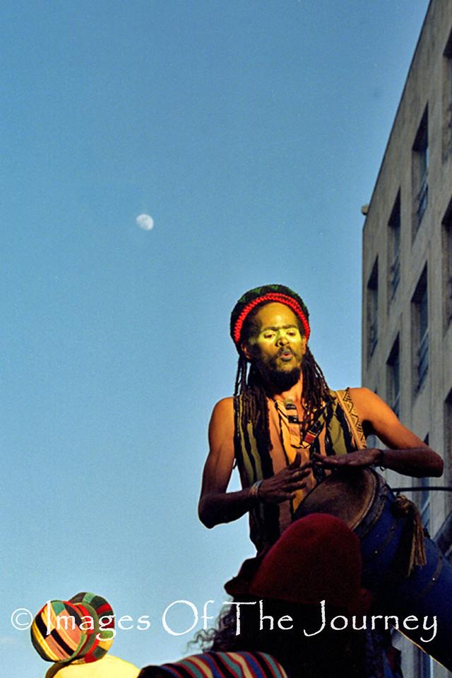 Drummer's Moon Cuba<br /> He is on very tall stilts.