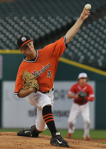 Alex Kuster of Brother Rice pitched a scoreless first inning to help lead the East team to a 7-5 win over the West squad during the MHSBCA All Star Game held on Tuesday June 20, 2017 at Comerica Park in Detroit.  (Digital First Media photo by Ken Swart)