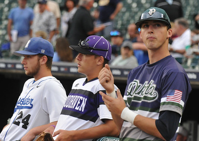Baseball action from the MHSBCA All Star Game held on Tuesday June 20, 2017 at Comerica Park in Detroit.  The East team defeated the West team 7-5.  (Digital First Media photo by Ken Swart)