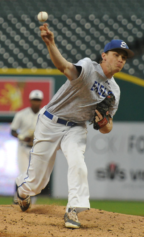 . Utica Eisenhower\'s Kyle Bischoff delivers a pitch during the 6th inning of the MHSBCA All Star Game played on Tuesday June 20, 2017 at Comerica Park. Bischoff pitched a scoreless inning to help lead the East team to a 7-5 win.  (Digital First Media photo by Ken Swart)