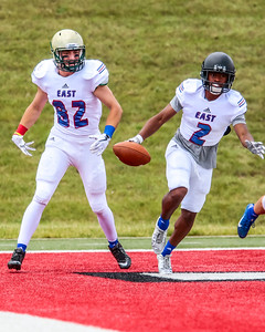 The East squad struck early after a 51 yard connection on the opening play and held on to take a 21-0 victory over the West team on Saturday at Saginaw Valley State University. (Oakland Press photo by Timothy Arrick)