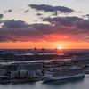 Sunrise over Port Miami and Biscayne Bay, Miami, FL.