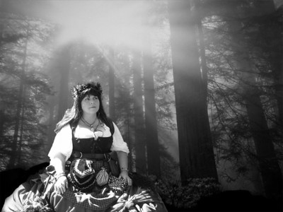 LADY IN THE WOODS AT NIGHT B&W